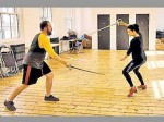 Shruthi Hasan Being Trained Sword Fighting