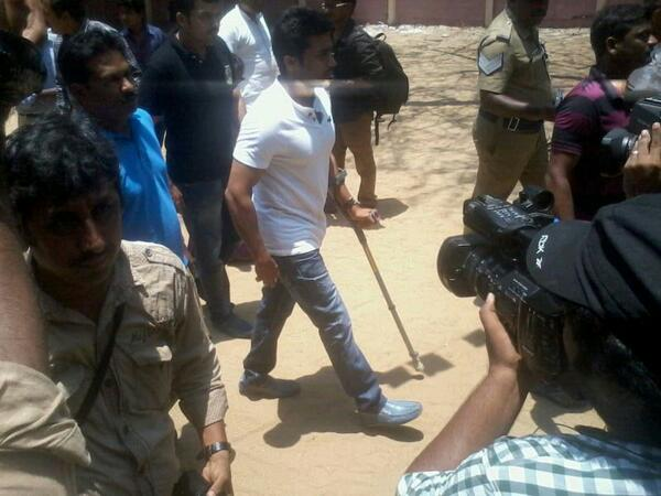 Surya casts his vote with injured leg