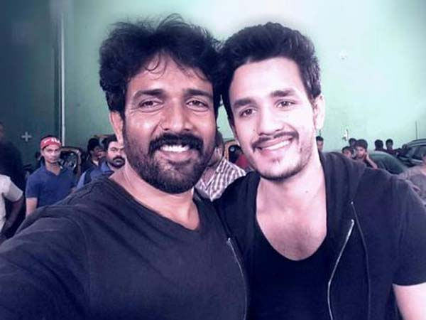 Akhil selfie with Stunt Director!