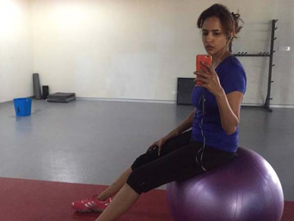 Manchu Lakshmi on Gym Ball