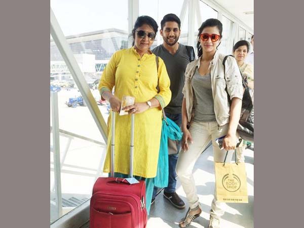 Naga Chaitanya & Shruti Haasan at Chennai airport