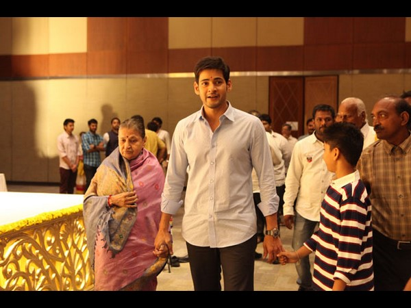 Photo : Mahesh walked with Mom & Son