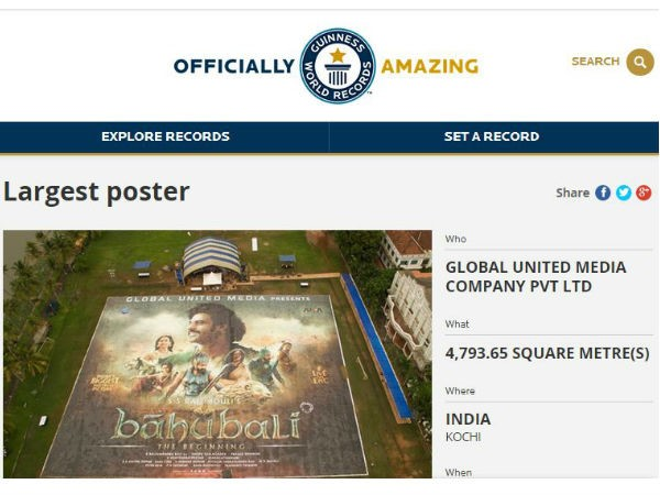 Baahubali Enters Guinness World Records with Largest poster