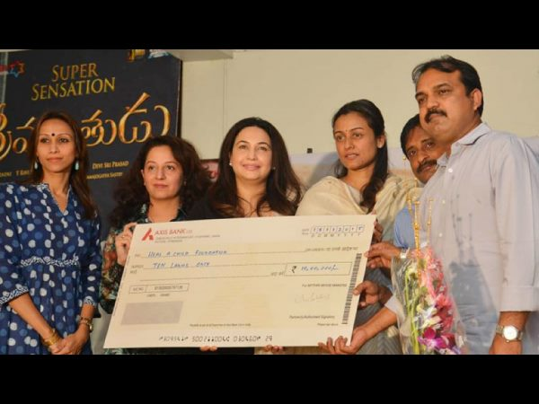 Srimanthudu team donates to Basavatarakam Cancer Hospital