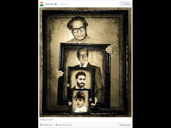 Abhishek captures four generations of Bachchans in one frame!