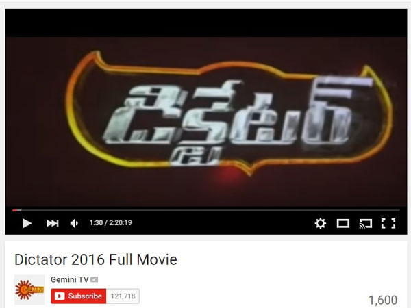 Dictator Full Movie in Gemini TV Youtube Channel Leaked