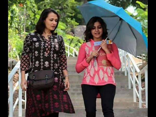 Samantha Spotted With Amala Akkineni at annapoorna studios