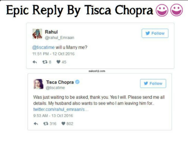 Mrs.Tisca Chopra's Hilarious Reply To a marriage proposal
