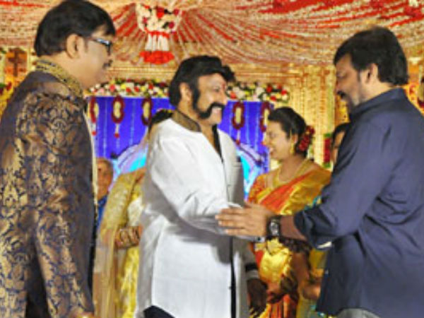 Chiranjeevi-Balakrisha at Rajeev Saluri wedding reception