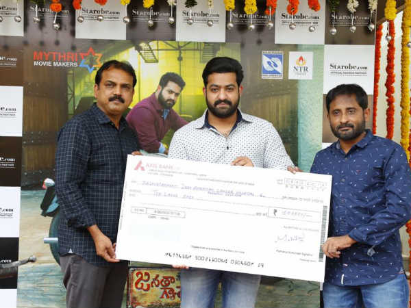 NTR presented Janatha Garage bike to winner Rajkumar Reddy