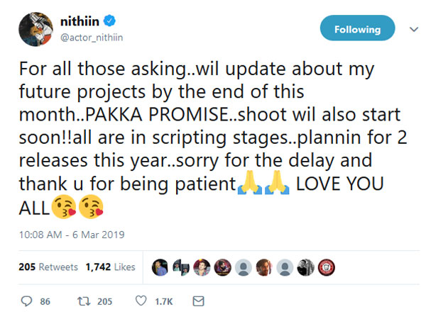 Young hero Nithiin about his future projects