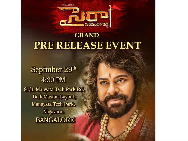 Sye Raa Narasimhaa Reddy Planned grand pre release evnet at Bengaluru