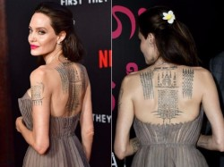 Angelina Jolie Shows Off Massive Back Tattoo