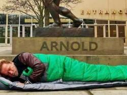 Sad Superstar Sleeping Under His Famous Bronze Statue